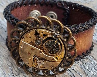 Bicycle Bracelet Leather Cuff Wristband -Watch part Jewelry Bracelet Steampunk Wrist Cuffs- Woman Girlfriend Ladies Trainer Bicycle gifts