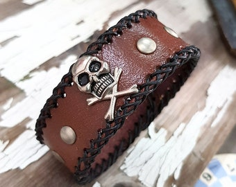 Skull Cuff Pirate Bracelet Leather Wristband