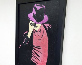 Michael Jackson Retro Framed Wall Art Canvas Drawing Paint Painting Moonwalk Poster Print Great King Of Pop Home Decor Thriller Era Inspired