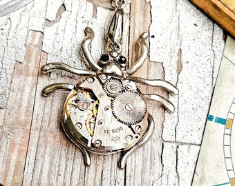 Steampunk Spider Necklace Pendant
