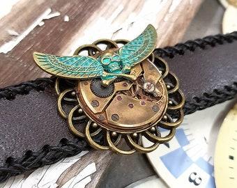 Flying Skull Steampunk Cuff Bracelet Leather