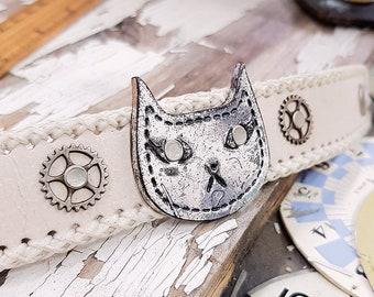 Leather Cuff Cat Bracelet Steampunk