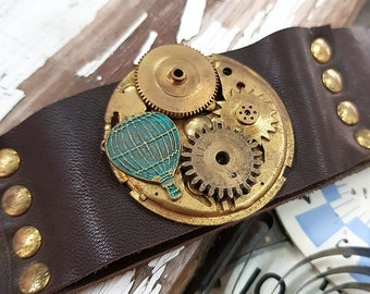 Steampunk Balloon Bracelet Leather Wristband Cuff