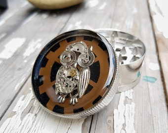 Steampunk Owl General Grinder Spice Crusher