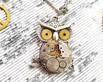 Steampunk Owl Necklace Pendant Medium