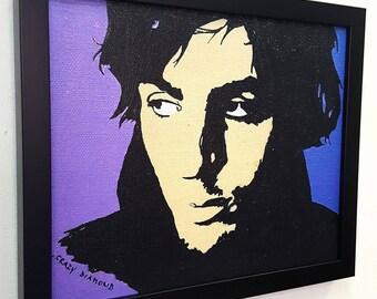 Syd Barrett Wall Art Framed Canvas ,Pink Floyd Art, Pop Art Print Mixed Media Paint Painting Poster Artwork Rock n Roll Decor Crazy Diamond