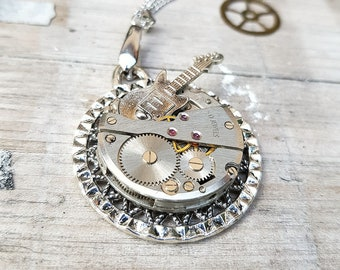 Guitar Necklace Rock n Roll Silver Star