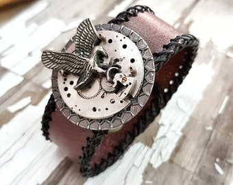 Steampunk Eagle Wrist Cuff Bracelet Leather