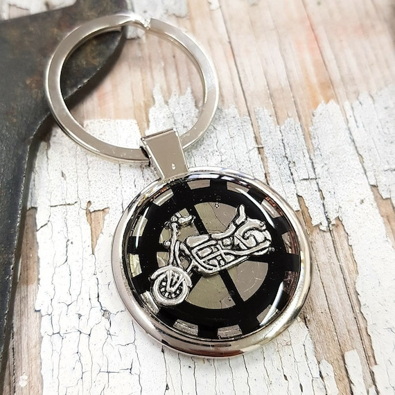 Keyring Lanyard Keychain Engraved With Motorbike Motorcycle Bike