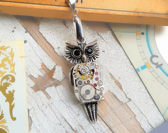 Steampunk Owl Necklace Pendant Small
