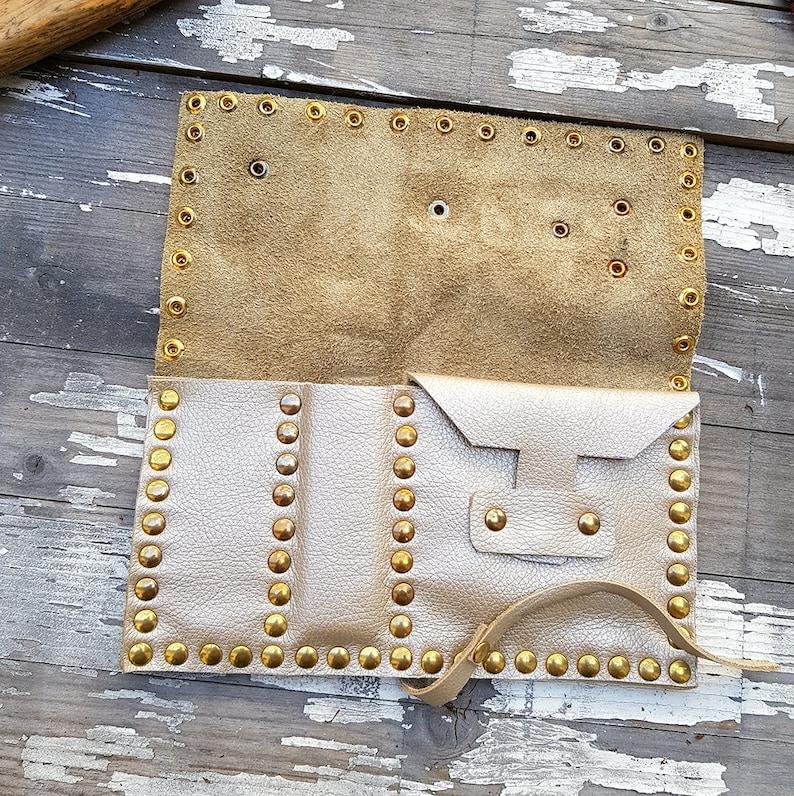 Steampunk Tobacco Pouch Rolling Case Purse White Genuine Leather