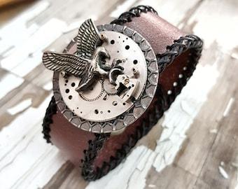 Steampunk Eagle Wrist Cuff Bracelet Leather