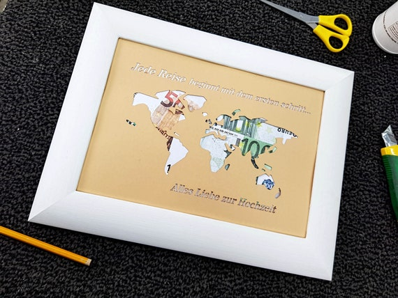 World Map Wedding Money Gift Card, World map Card with Frame for Money Gift  Ideas