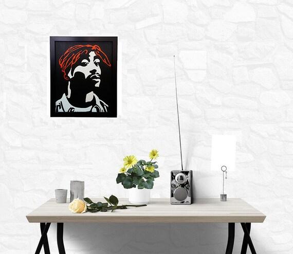 2Pac Shakur Wall Art Canvas incorniciato, 2Pac poster Tupac artwork pittura dipinto, 90s rap hip hop musica interior decor