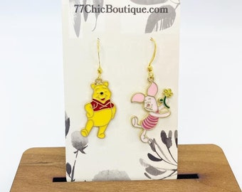 Winnie the Pooh and piglet charm and earrings
