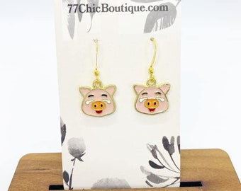 Pig charm earrings