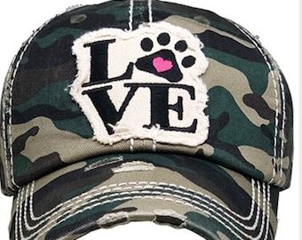 Camouflage Love paw print tattered baseball hat