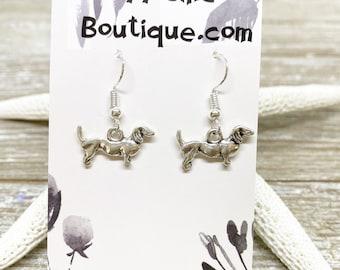 Dachshund dog charm earrings