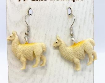 Lightweight rubber llama earrings