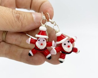 Wire wrapped glass Santa Claus earrings
