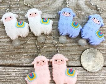 Rubber llama earrings