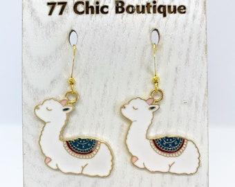 Sleeping llama earrings