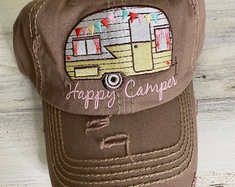 Happy Camper tattered baseball hat