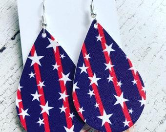 Faux leather americana teardrop earrings
