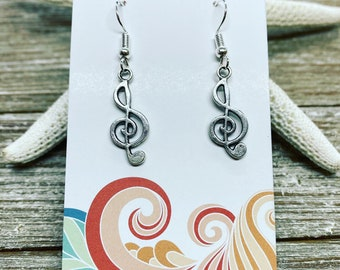 Music note charm earrings