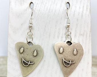 Matte silver smile hearts