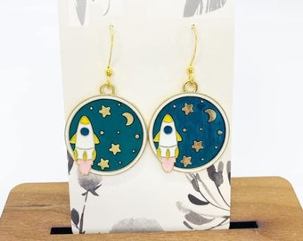 Rocket charm earrings