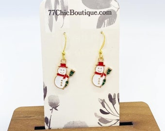 Snowman charm earrings