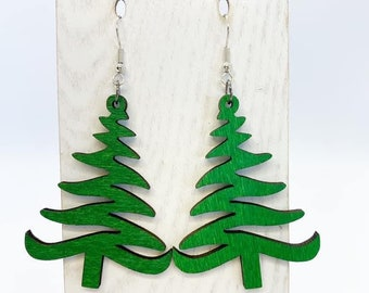 Green aspen wood Christmas tree earrings