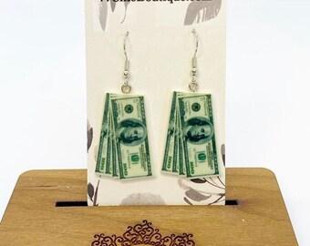 Acrylic stack of money charm earrings