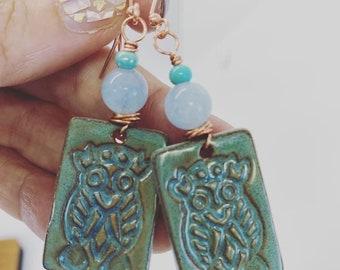 Wire wrapped ceramic owl earrings