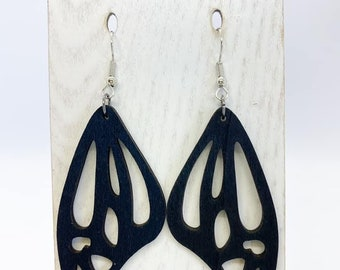 Black Aspen wood butterfly wing earrings