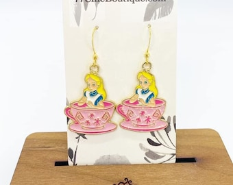Alice in wonderland charm earrings
