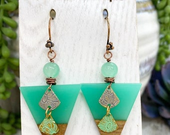 Wire wrapped acrylic earrings