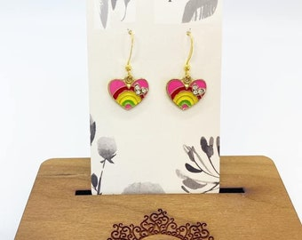 Rainbow heart charm earrings with rhinestone accents