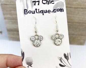 Sparkly rhinestone Mickey Mouse earrings