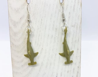 Lightweight rubber hammerhead shark earrings
