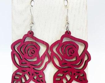 Aspen wood rose earrings