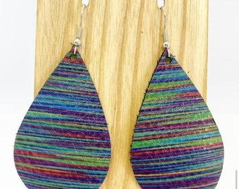 Genuine leather teardrop earrings