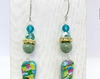 Polymer clay and Swarovski crystal with ceramic accents