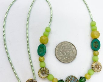 """22"""" czech glass Beaded necklace with magnetic clasp."""