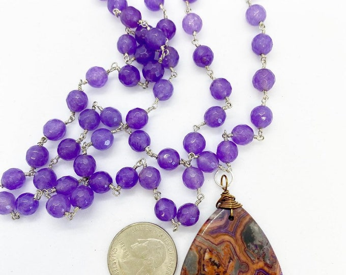 """Featured listing image: 30"""" rosary style necklace with agate pendant"""