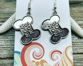 Dog bone charm earrings