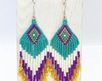 Bead loom chandeliers