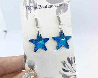 Bermuda blue Swarovski crystal stars on posts