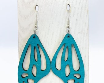 Blue Aspen wood butterfly wing earrings